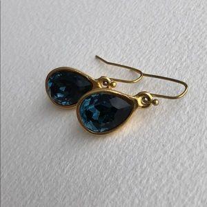 Diana Warner Dark Blue and Gold Teardrop Earrings